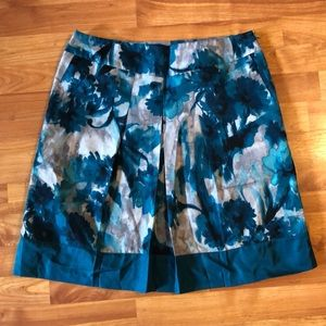 Ann Taylor Blue/Green and silver knee length skirt